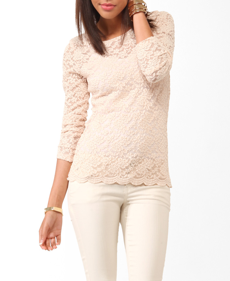 Scalloped embroidered lace top
