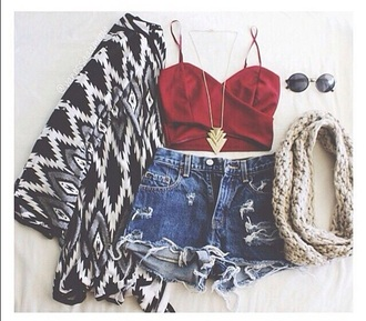 tank top red tank top denim shorts gold neklace red tank tops black and white cardigan cardigan summer outfits neklace