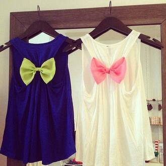 tank top bows cute white pink blue green weheartit vintage lovely blouse the blue one shirt pink shirt cute shirts top bow t-shirt dark blue neon yellow bow pink bow cute top bow back white tank top blue tank top bow tank top racerback tanks top tanks colorful summer cut-out strik clothes hat