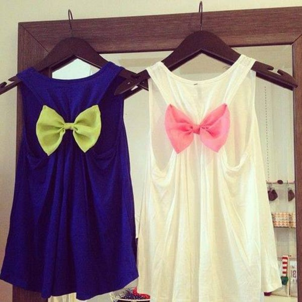 tank top bows tank top cute white pink blue green weheartit vintage lovely blouse the blue one shirt pink shirt cute shirts top bow t-shirt dark blue neon yellow bow pink bow cute top bow back white tank top blue tank top bow tank top racerback tanks top tanks colorful summer cut-out strik clothes t-shirt hat