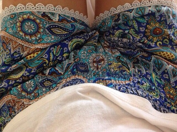 floral blue pattern shorts green paisley boho bohemian hipster indie alternative hippy hippie new lace popular beautiful cute