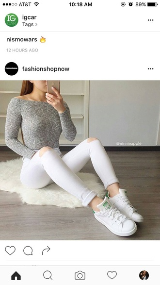 jeans sweater grey sweater white jeans adidas shoes shirt blouse knitted top grey shoes adidas stan smith white green superstar style