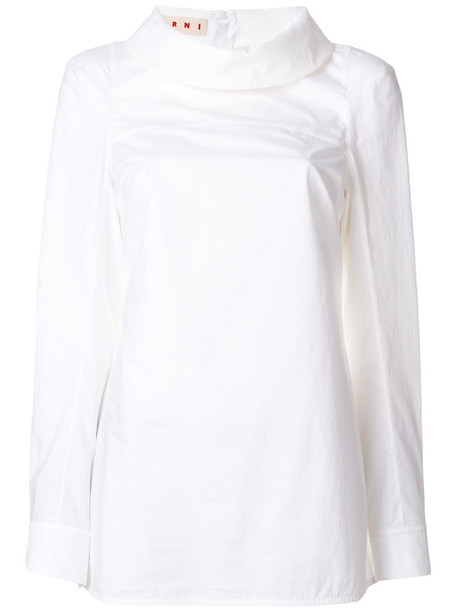 Marni - foldover collar shirt - women - Cotton - 40, White, Cotton