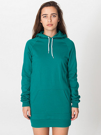 California Fleece Pullover Raglan Hoodie Dress | American Apparel
