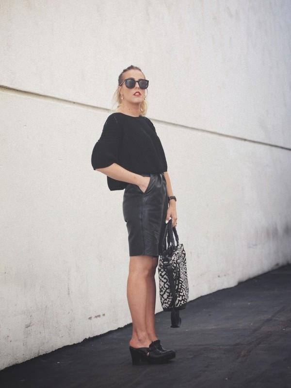 b. jones style sweater shorts bag sunglasses shoes jewels