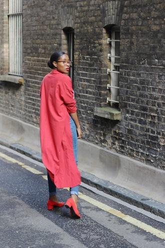 coat long coat tumblr duster red coat denim jeans blue jeans shoes red shoes mid heel pumps pumps