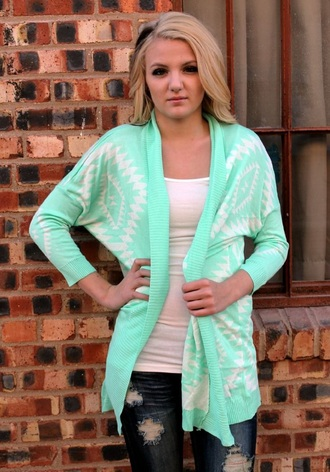 cardigan mint aztec