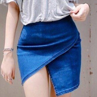 skirt denim jeans blue summer sexy spring hot trendsgal.com