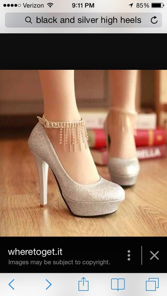shoes, sparkly silver heels, silver