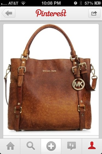 bag leather bag michel kors brown bag