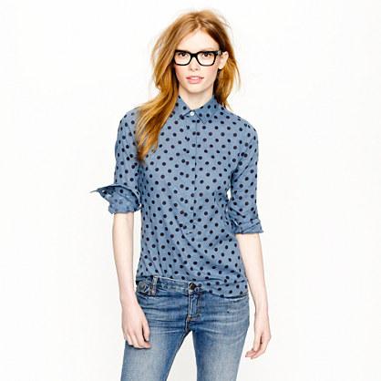 bf2b286576810b Jacquard dot popover - casual shirts - Women s shirts   tops - J.Crew