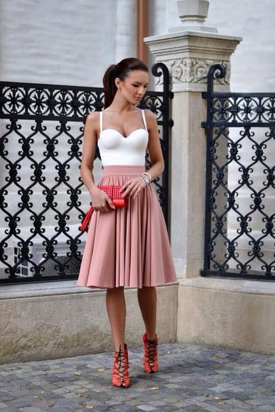 body top skirt white top pink skirt