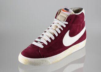 shoes nike blazer nike burgundy limited rare blazer mid vintage original suede