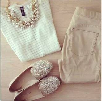 shorts white jewels sparkle shoes slip-on nude