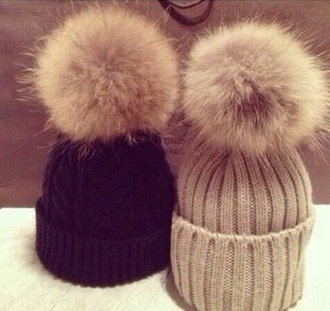 hat pom pom beanie pom poms beanie fluffy floppy hat knit hats winter hat cute hipster scarf hair accessory