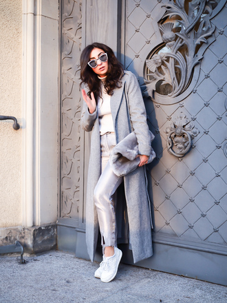 samieze blogger coat pants bag grey coat long coat furry bag sneakers winter outfits fall outfits grey long coat