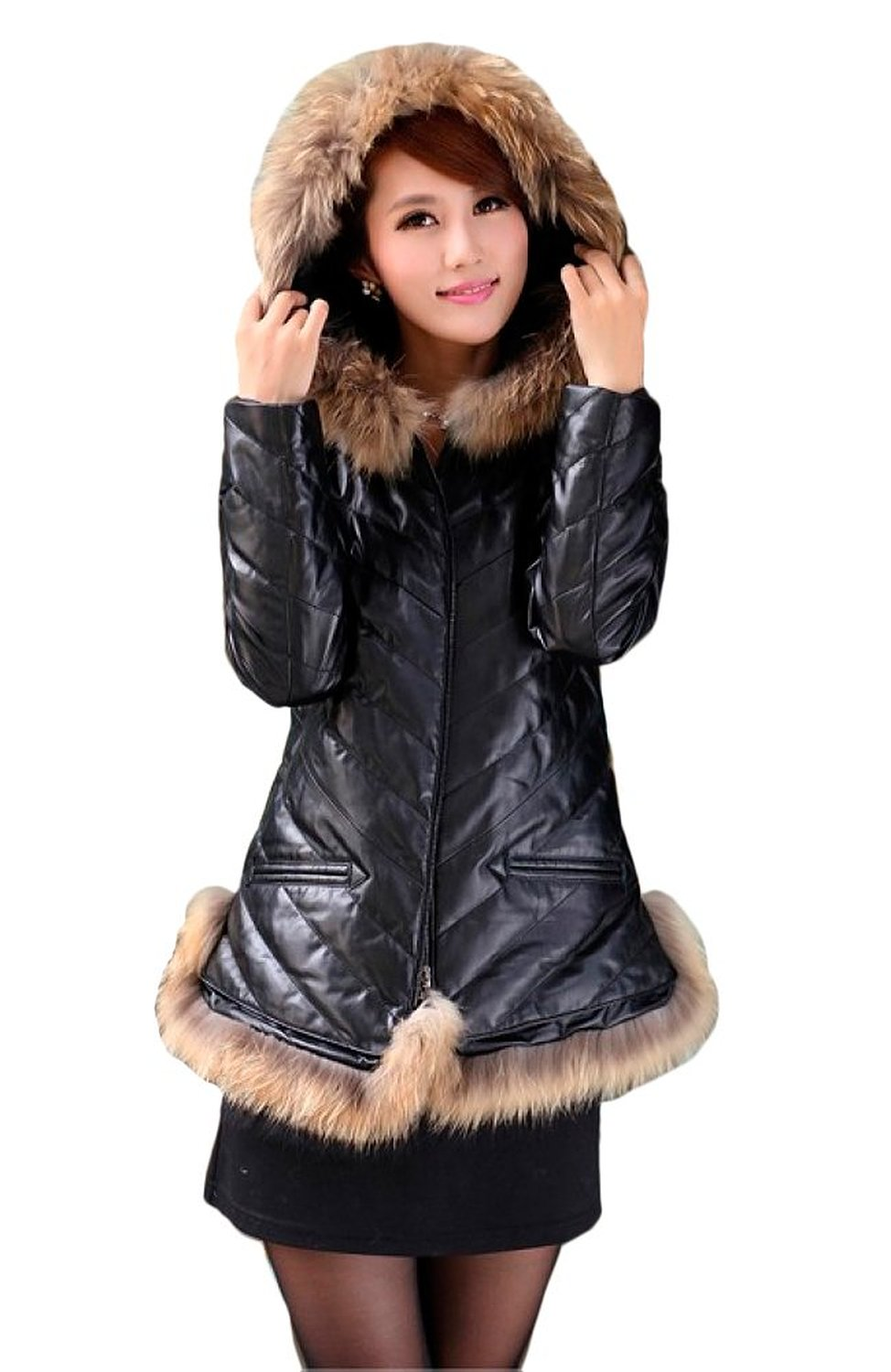Queenshiny long women's 100% real sheep leather down coat with raccoon trim with hood at amazon women's coats shop