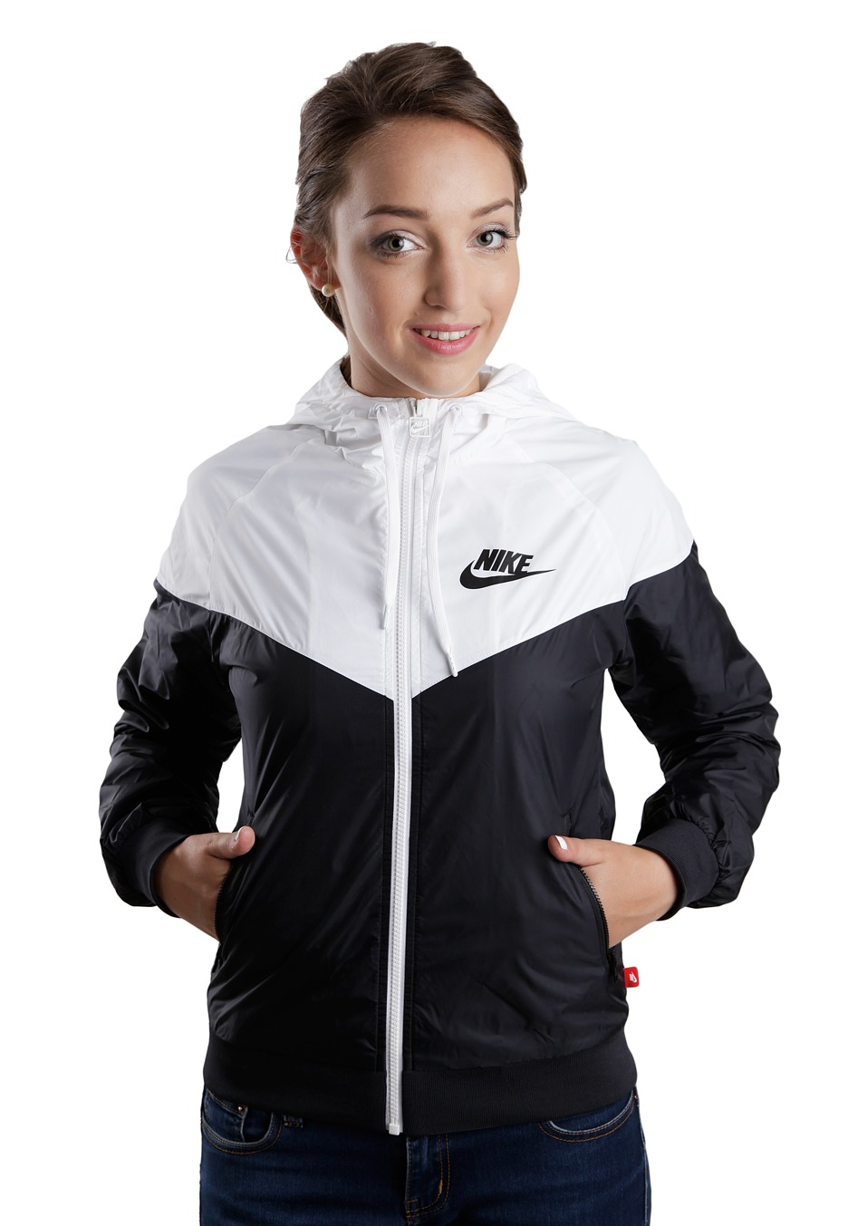 Nike - The Windrunner Black/White/Black - Girl Jacket