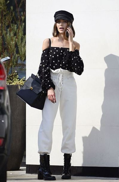 pants top off the shoulder off the shoulder top hat streetstyle fall outfits olivia culpo blouse