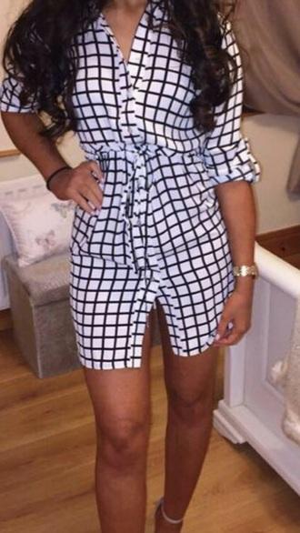 dress checkered shirt dress black and white dress plaid dress