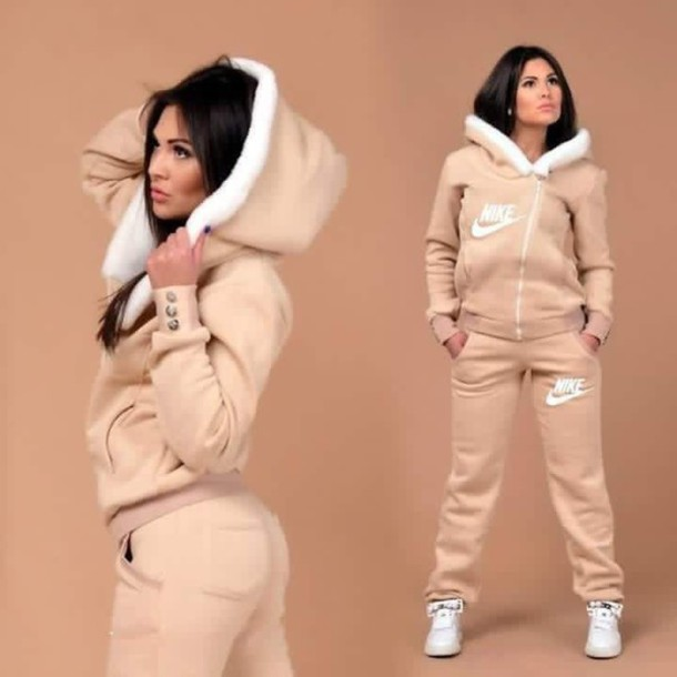 cheap for discount 93b13 a8c17 pants hot winter outfits beige beige jacket sweats joggers swag jumpsuit  tan nike girl sweater jacket