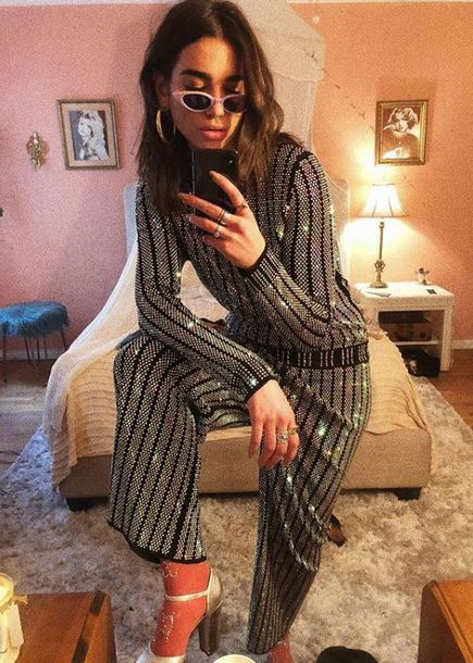 sweater pants instagram dua lipa glitter sparkle embroidered silver metallic