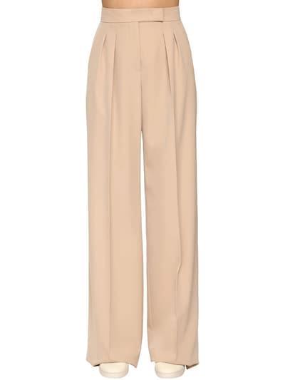 MAX MARA Pleated Wool Gabardine Wide Pants Beige