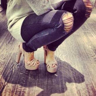 shoes high heels nude high heels platform high heels jeans
