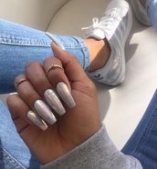 nail accessories,metallic nails,nails,iridescent,shoes,nail polish,Accessory,cool girl style,chrome nails,chrome,tumblr shoes,fake nails,long nails,tumblr nails,trendy,adidas,adidas superstars,tumblr outfit,cute,mirror metalic,nail art,nail stickers,acrylic nails,stiletto nails
