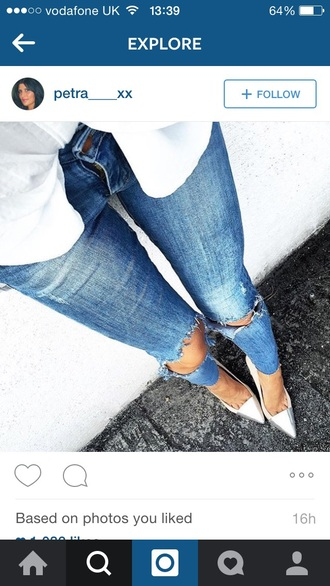 shoes court shoes court heels pointed toe metallic metal metallic shoes high heels jeans