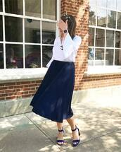 top,skirt,tumblr,bell sleeves,white top,midi skirt,pleated,pleated skirt,navy skirt,sandals,sandal heels,high heel sandals,shoes,work outfits,office outfits