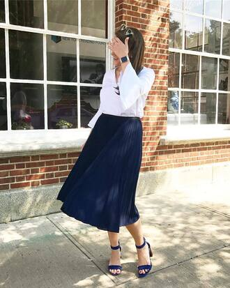 top skirt tumblr bell sleeves white top midi skirt pleated pleated skirt navy skirt sandals sandal heels high heel sandals shoes work outfits office outfits