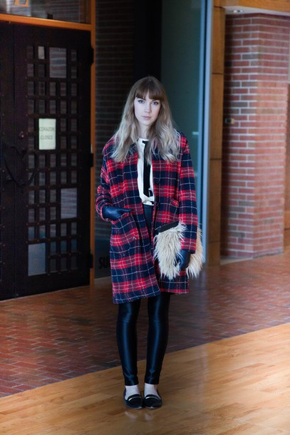 ashley treece blogger coat tartan leggings flats fluffy