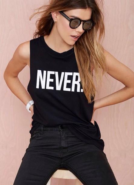 shirt tank top black sleeveless letter print fashion