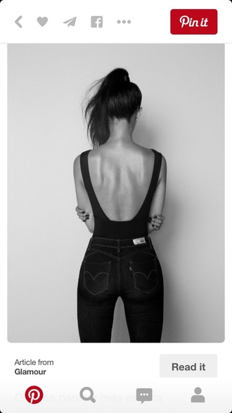blouse black top backless top sexy black top black top and bottoms black jeans black high waisted pants black shirt