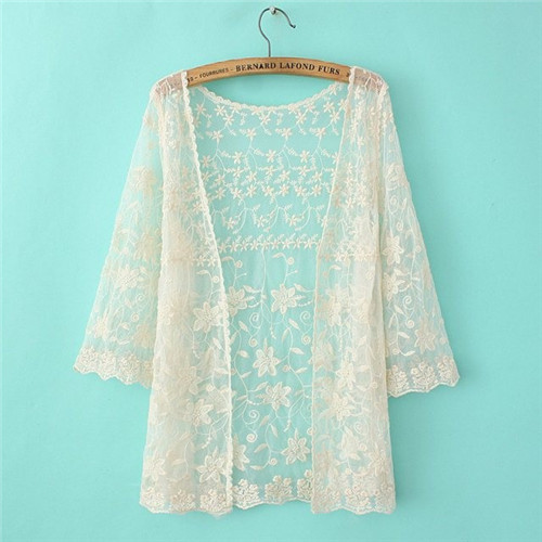 Shop Women Lace Cardigans 2015 Sexy Floral Sheer Blouses Lace ...