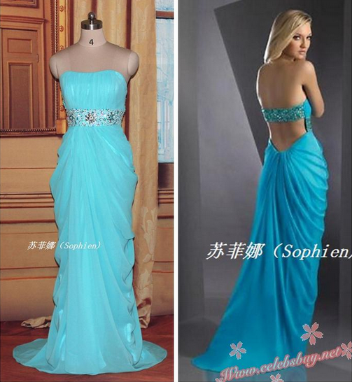 Celebrity prom dress: Celebrity blue strapless prom dress $139.99 each at celebsbuy.net