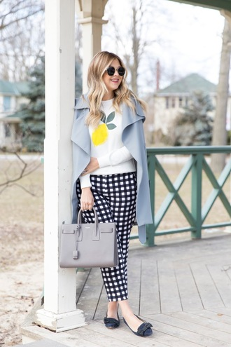 suburban faux-pas blogger coat sweater pants sunglasses bag blue coat handbag spring outfits loafers