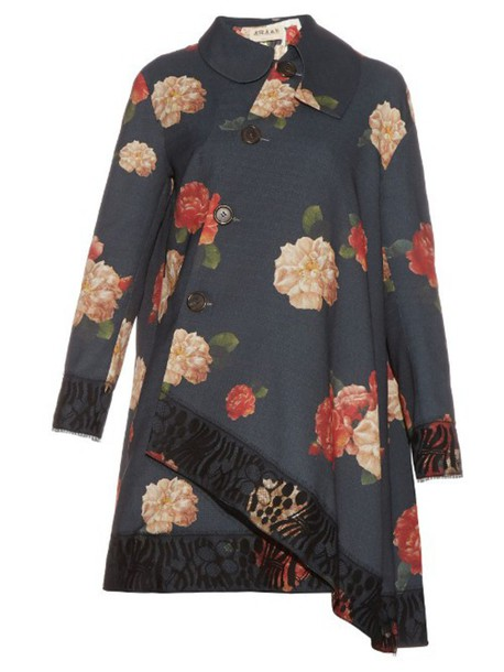 A.W.A.K.E. coat trench coat floral print black