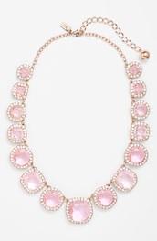 jewels,kate spade,necklace,jewelry,pink jewels