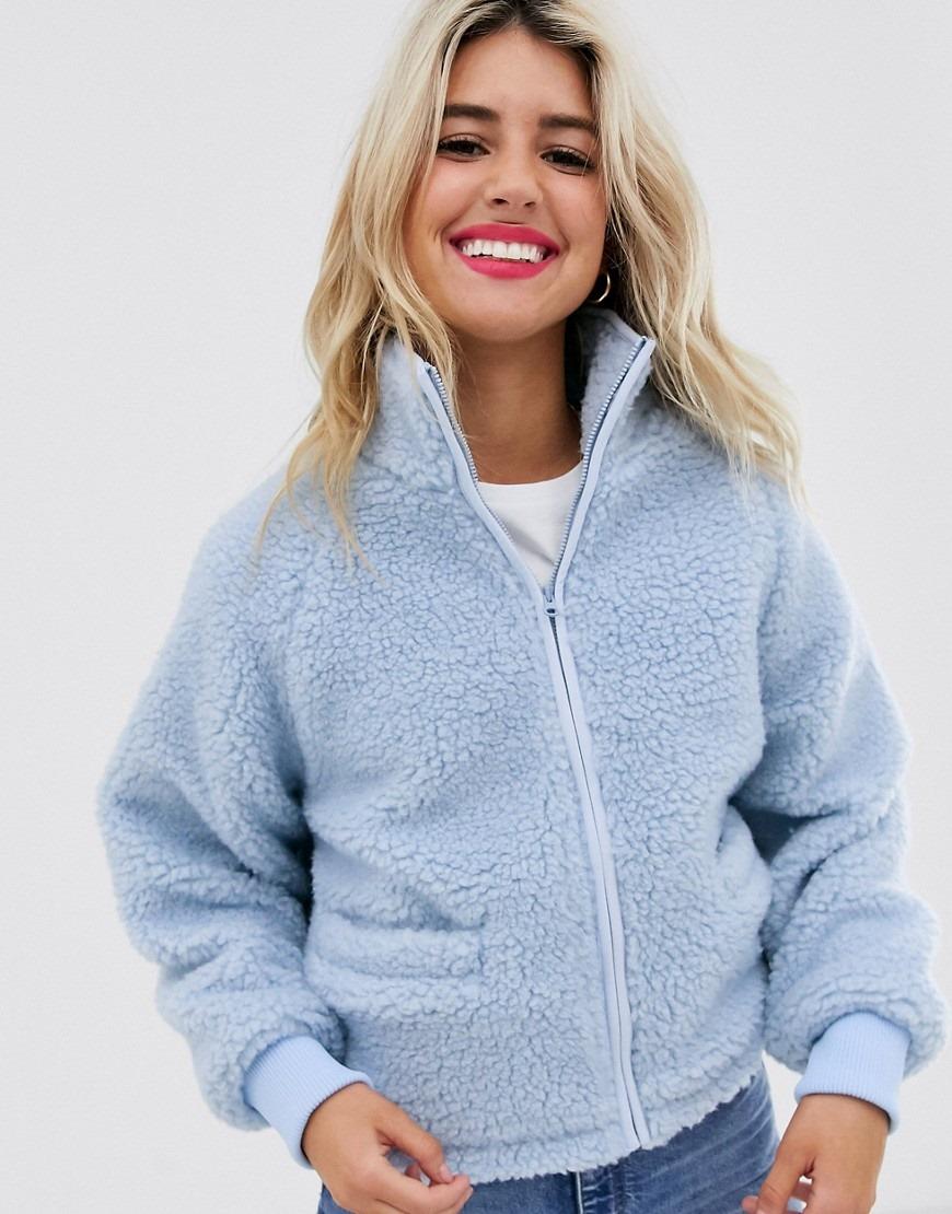 ASOS DESIGN fleece zip through jacket