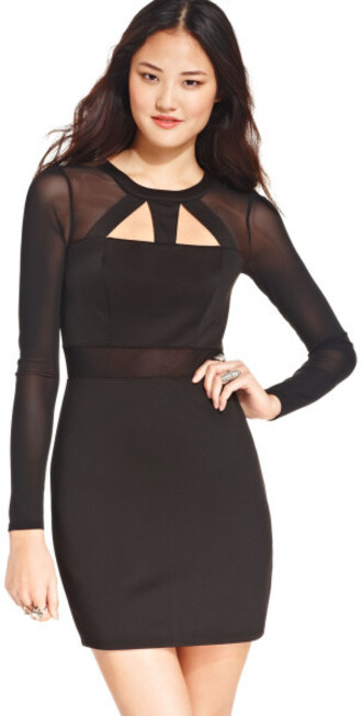dress mesh long sleeves cut-out black dress material girl cut out semi formal
