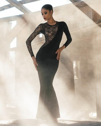 dress angl black dress lace see through see through dress black lace elegant elegant dress evening dress event formal event outfit long evening dress