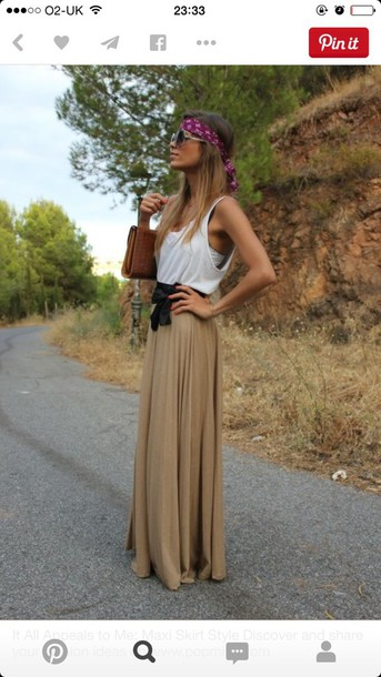 Skirt: khaki, maxi skirt, fashion, style, dress, top, belt, hair ...