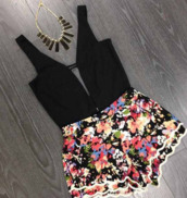 shorts,shirt,romper,black romper,floral romper,low neck line,jumpsuit,flowers,colorful