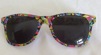 sunglasses ray ba wayfarer yellow multicoloured kaleidoscope print