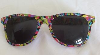 sunglasses ray ba wayfarer yellow multicoloured kaleidoscope print