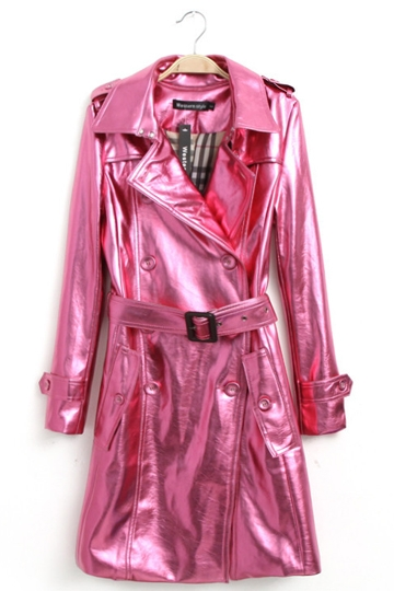 Shining Leather Trench Coat with Belt [FEBK0369]- US$ 65.99 - PersunMall.com