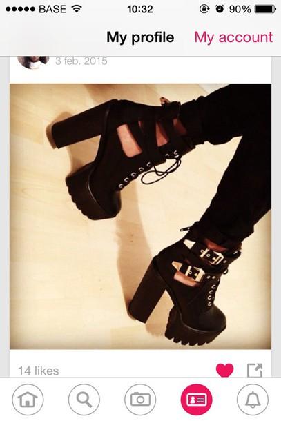 shoes high heels big heel black heels