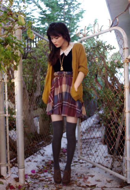 skirt yellow cardigan cardigan mustard cardigan mustard tartan tartan skirt blouse